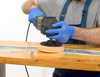 Using a Power Polisher to Polish a Resin River Table Thumbnail